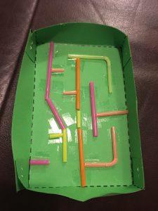 Straw Maze in cardboard